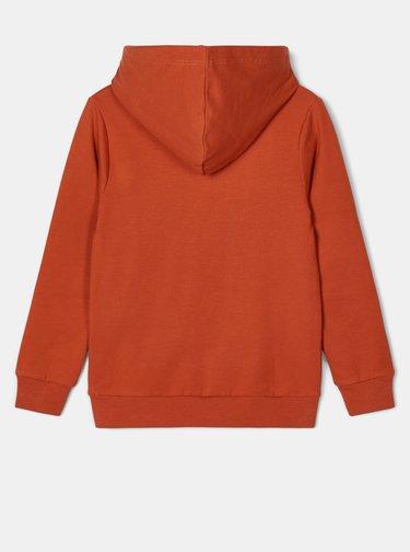Oranžová klučičí mikina s kapucí name it