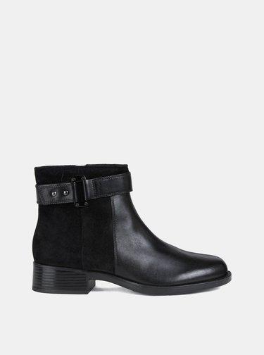 Čierne dámske kožené členkové topánky Geox
