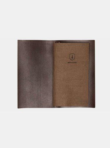 Černý kožený zápisník Brunn Midori BeWooden