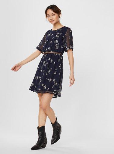 Tmavomodré kvetované šaty s opaskom VERO MODA Fallie