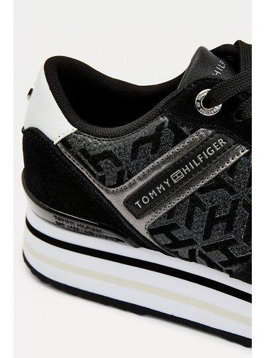 Tommy Hilfiger čierne tenisky na platforme Metallic Flatform Sneaker