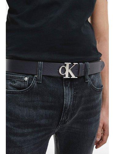 Calvin Klein modré pánsky kožený opasok Mono Plaque Belt