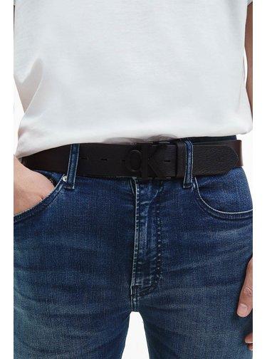 Calvin Klein čierne kožený pánsky opasok Mono Plaque Belt