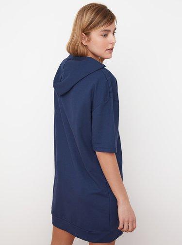 Tmavomodré mikinové šaty s kapucou Trendyol