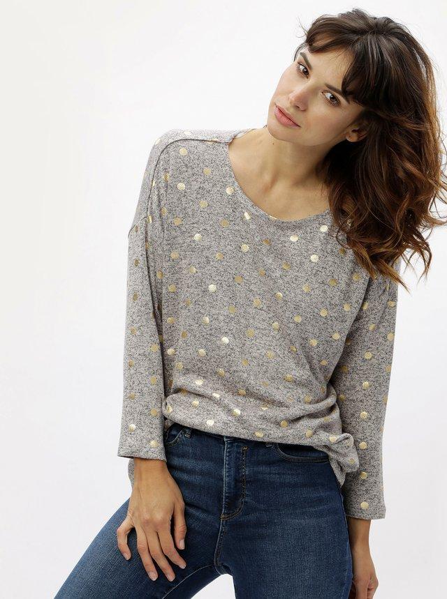 Růžovo-šedý žíhaný lehký svetr s puntíky ONLY