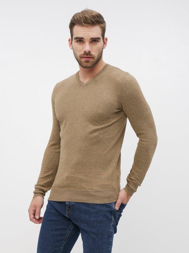 Svetlohnedý pánsky basic sveter ZOOT