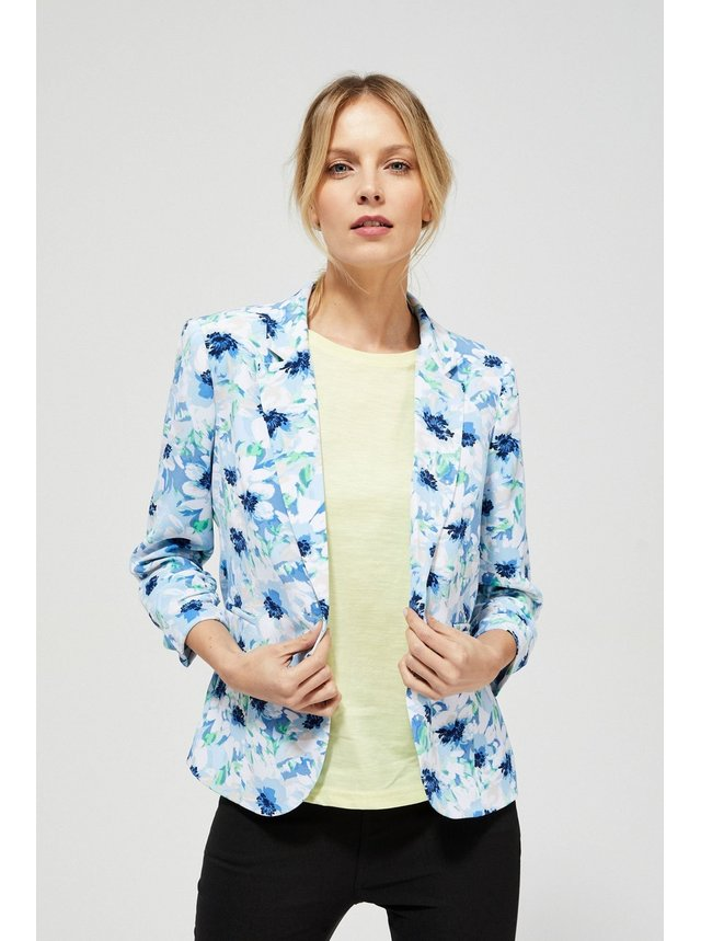 Moodo modro-biele kvetinové sako