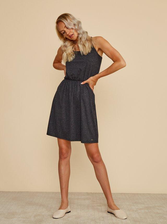 Tmavě šedé žíhané basic šaty s příměsí lnu ZOOT Baseline Radka