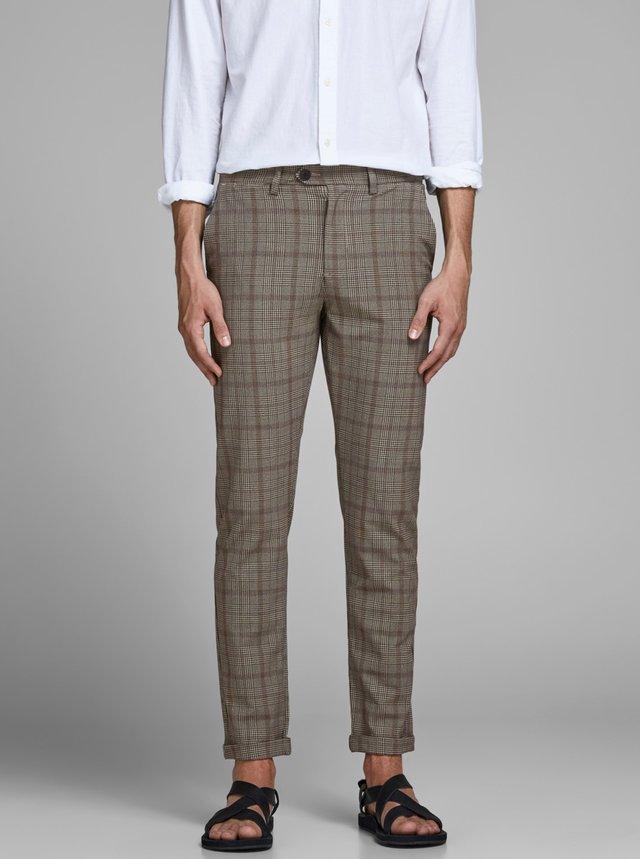 Béžové kockované nohavice Jack & Jones Marco