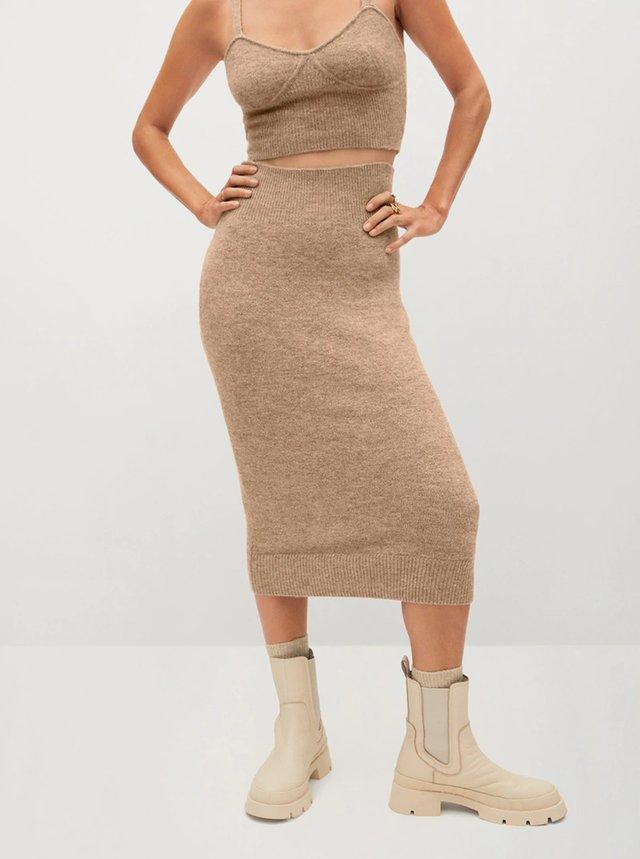 Světle hnědá pouzdrová midi sukně Mango Taldora