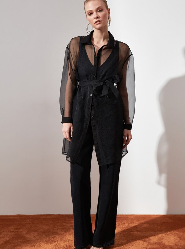 Černá dámská dlouhá průsvitná košile Trendyol