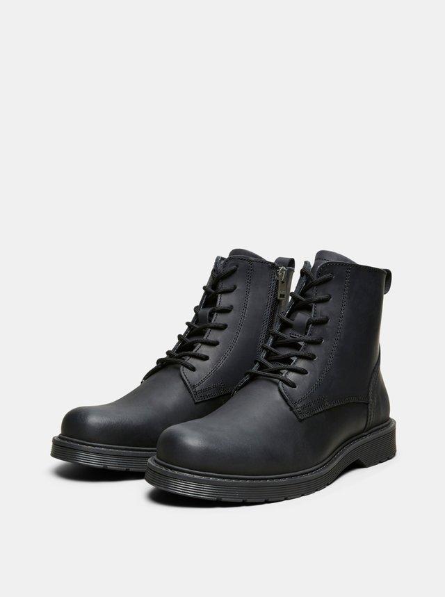 Čierne kožené členkové topánky Selected Homme