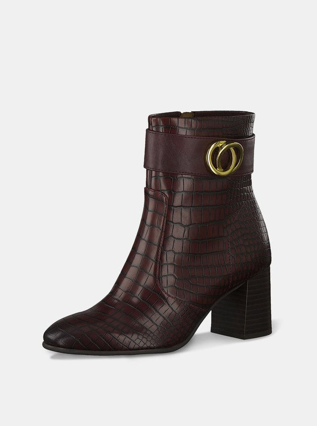 Vínové vzorované kotníkové boty Tamaris