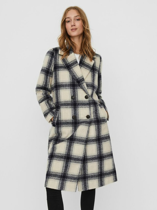 Šedo-béžový kockovaný kabát VERO MODA