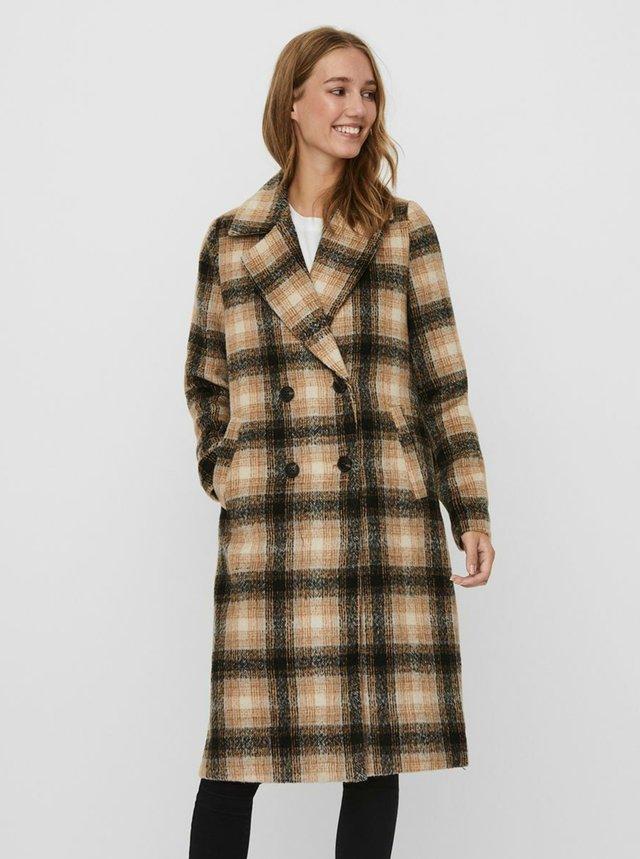Hnědý kostkovaný kabát VERO MODA Hailey