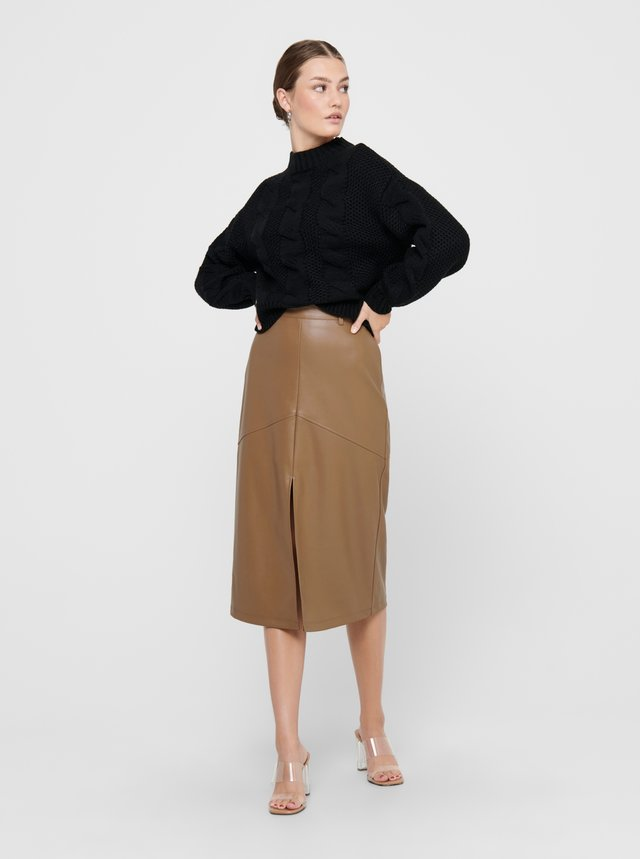 Hnedá koženková sukňa ONLY Ruma