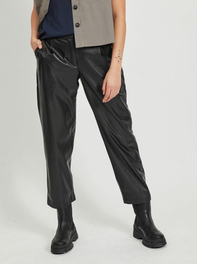 Černé zkrácené koženkové kalhoty VILA-Vivi