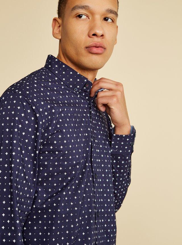 Tmavě modrá pánská vzorovaná košile ZOOT Richard