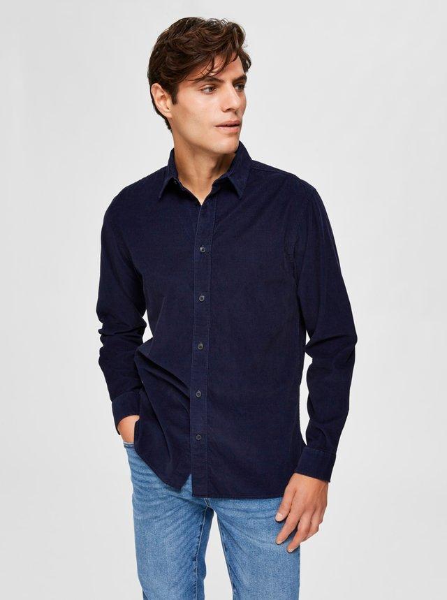 Tmavomodrá menčestrová košeľa Selected Homme
