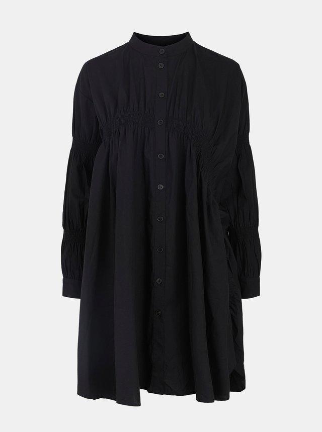 Černé volné košilové šaty Pieces