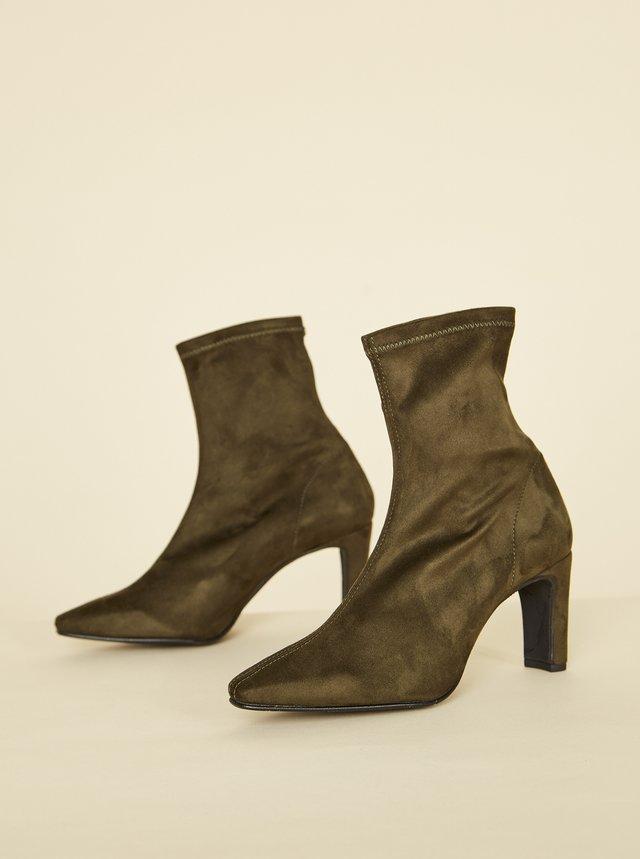 Khaki kotníkové boty v semišové úpravě OJJU
