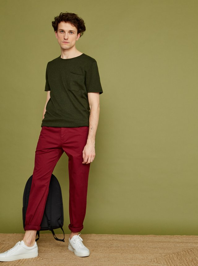 Vínové pánske slim fit nohavice ZOOT Emanuel