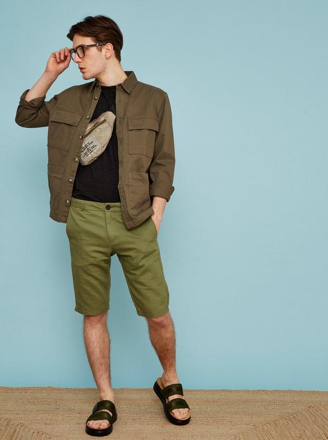 Zelené pánské lněné kraťasy ZOOT Gavin