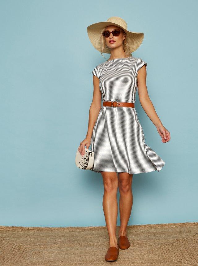 Modro-bílé pruhované basic šaty se zavazováním ZOOT Baseline Lynn