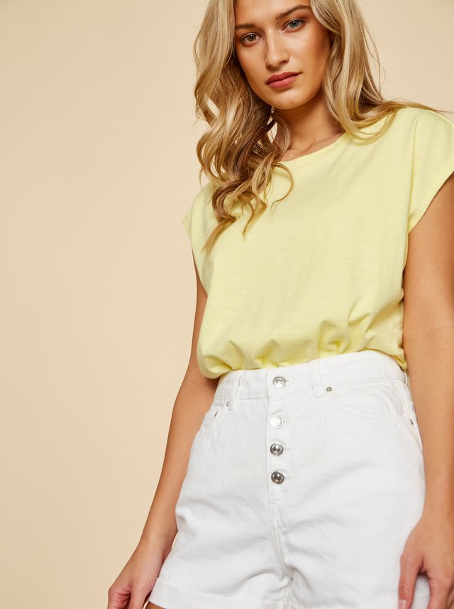 Žlté dámske dlhé basic tričko ZOOT Tara