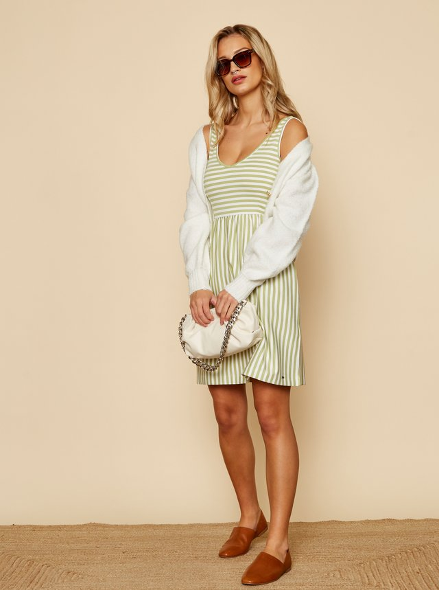 Bielo-zelené pruhované basic šaty ZOOT Baseline Sherlyn