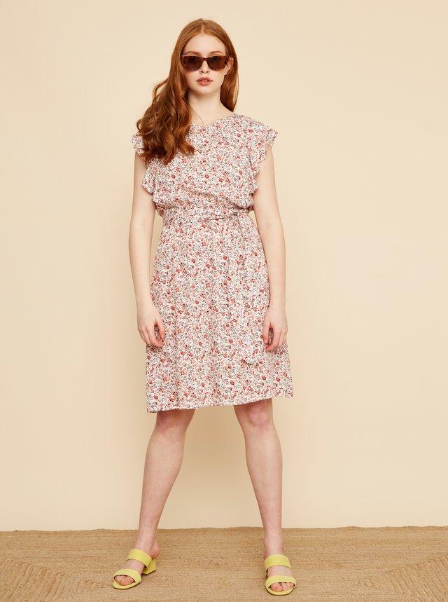 Růžovo-bílé květované šaty se zavazováním ZOOT Debora