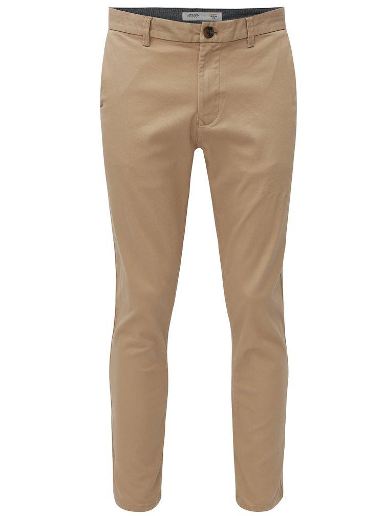 Béžové slim fit chino nohavice Burton Menswear London