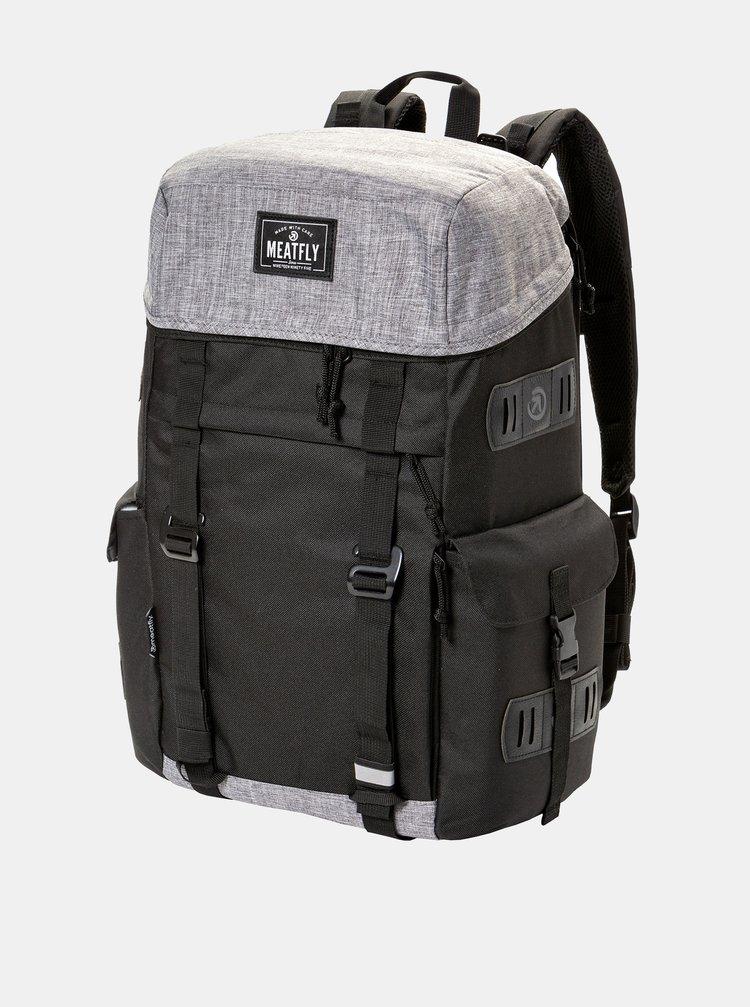 Sivo-čierny batoh s koženkovými detailmi Meatfly 30 l