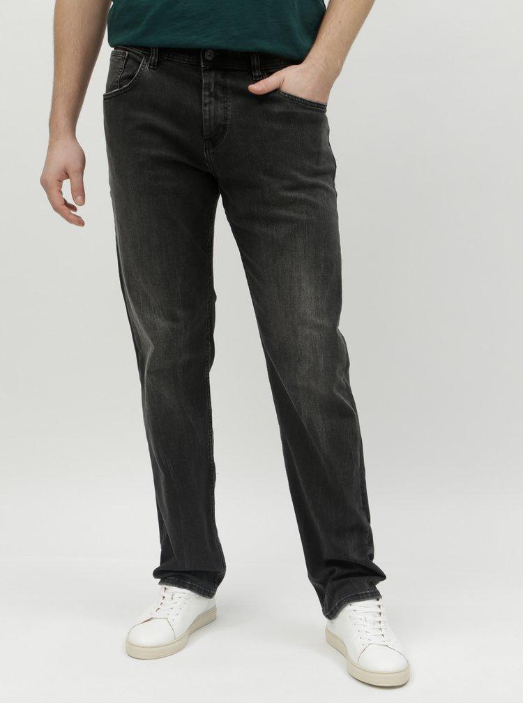 Tmavě šedé pánské straight džíny Tom Tailor