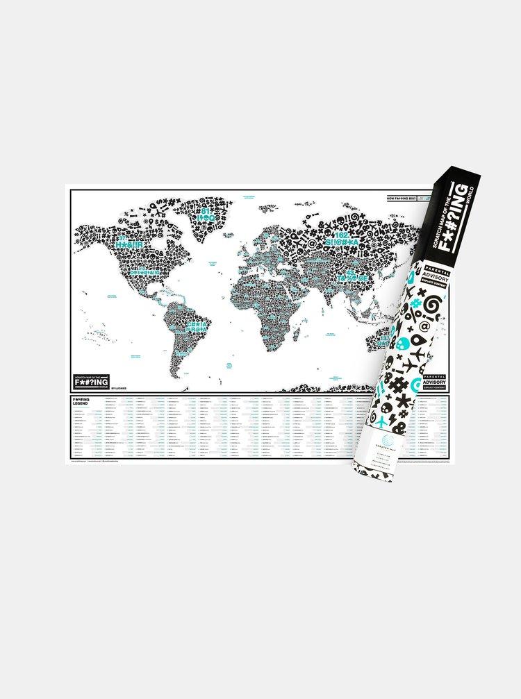 Bílá stírací mapa Luckies Of the f*#?ing world