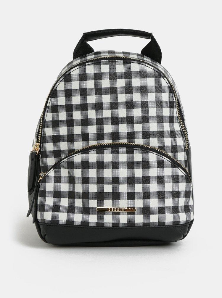 Bílo-černý kostkovaný batoh Bessie London