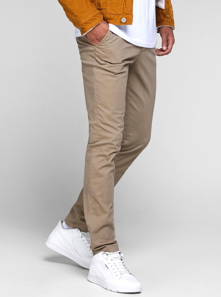 Béžové slim fit chino kalhoty Jack & Jones Marco