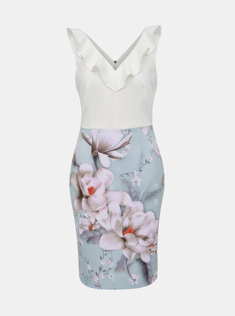 Bielo–modré kvetované puzdrové šaty s volánom Dorothy Perkins
