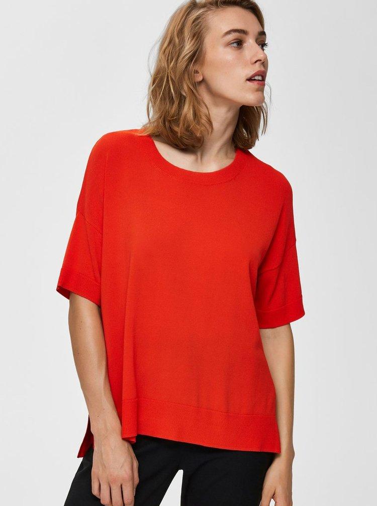 Červený top s rozparkami Selected Femme Wille