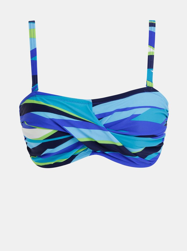 Modrý dámsky vzorovaný horný diel plaviek M&Co