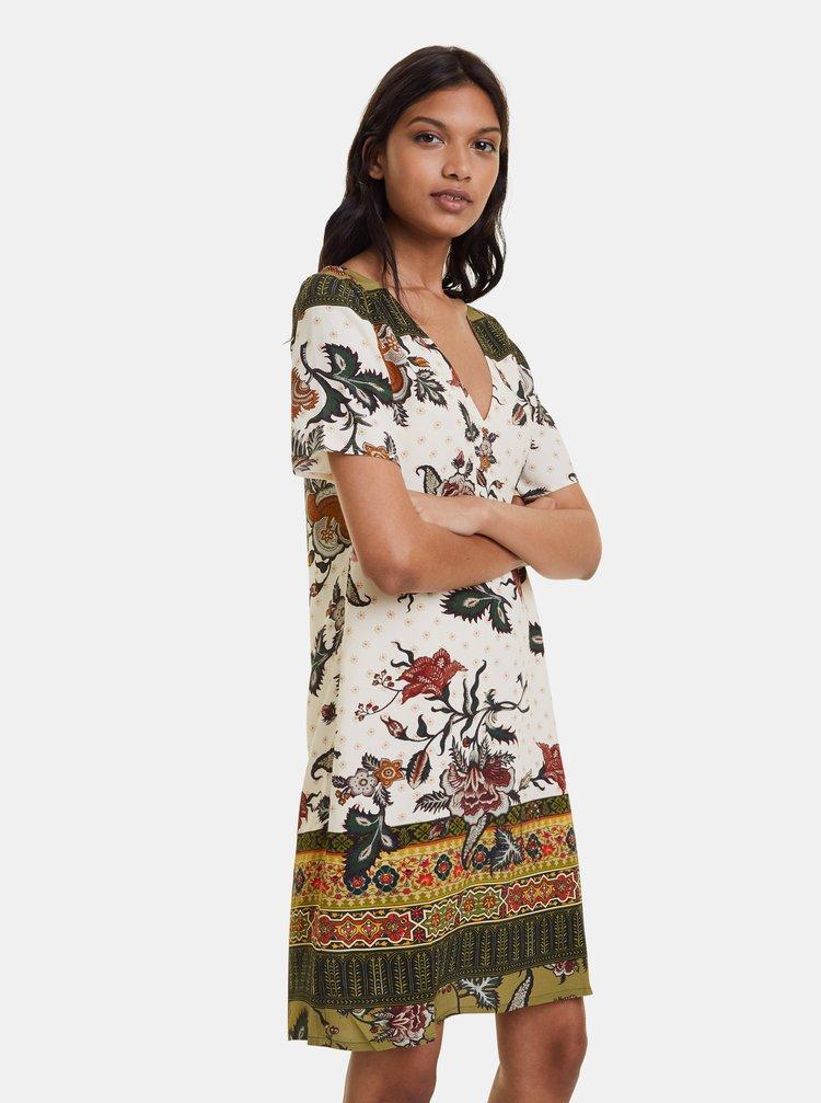 Krémové květované šaty Desigual Hilier