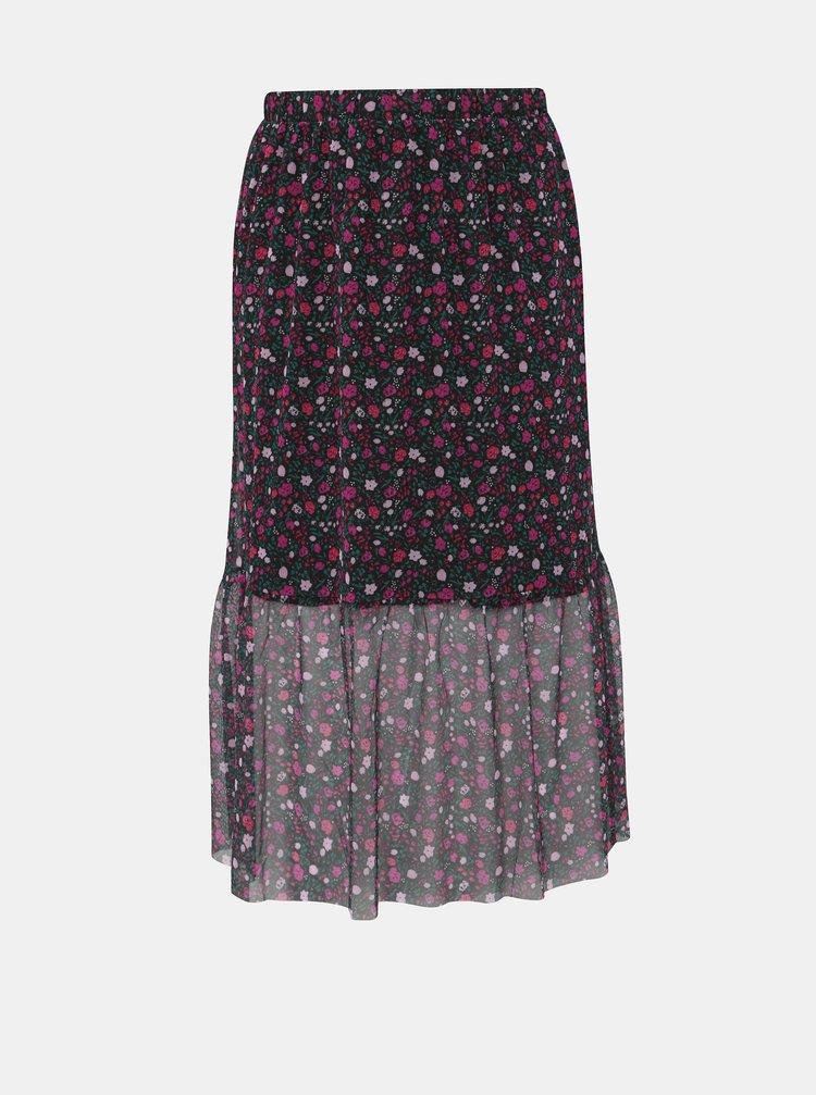Růžovo-černá květovaná midi sukně Zizzi Laila
