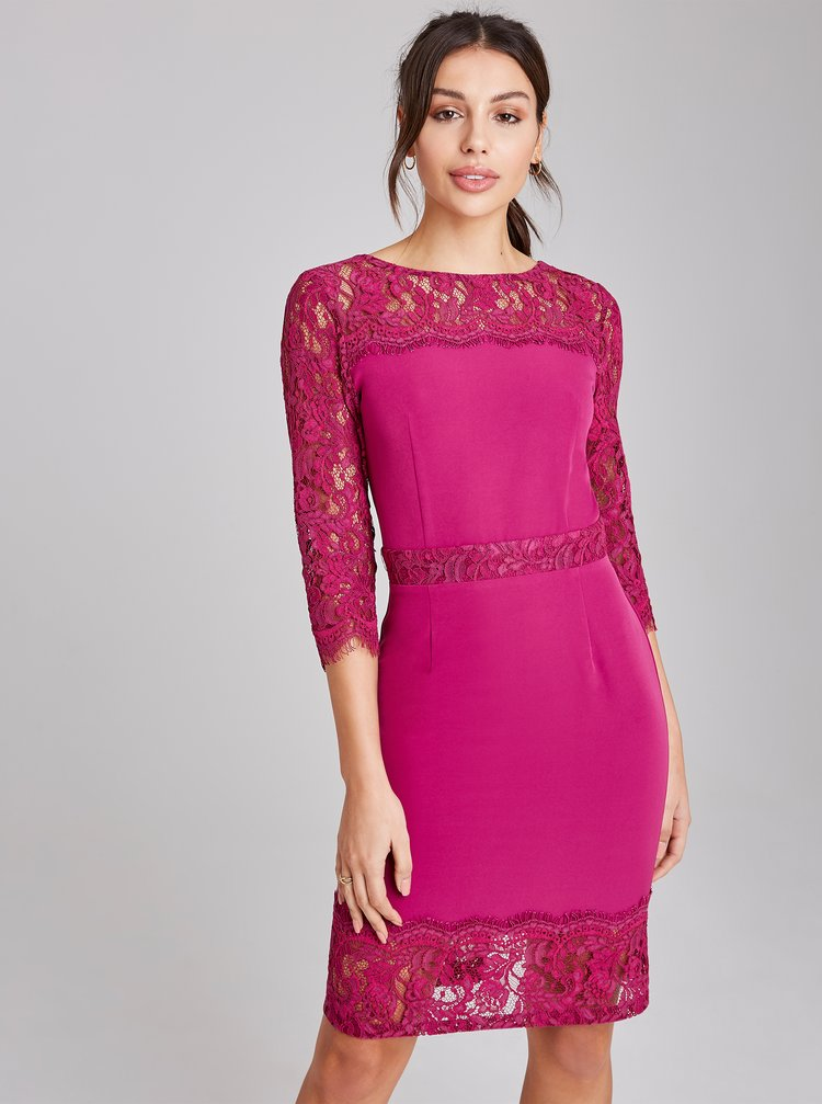 Rúžové púzdrové šaty Paper Dolls