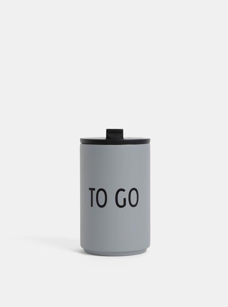 Šedý termo hrnek Design Letters 350 ml