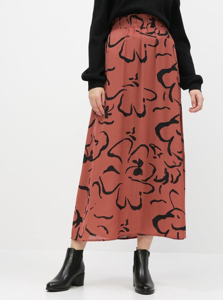 Hnedá vzorovaná maxi sukňa VERO MODA Ilona