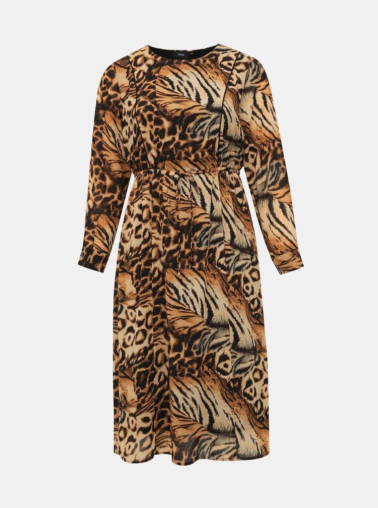 Hnědé šaty s leopardím vzorem Zizzi Povla