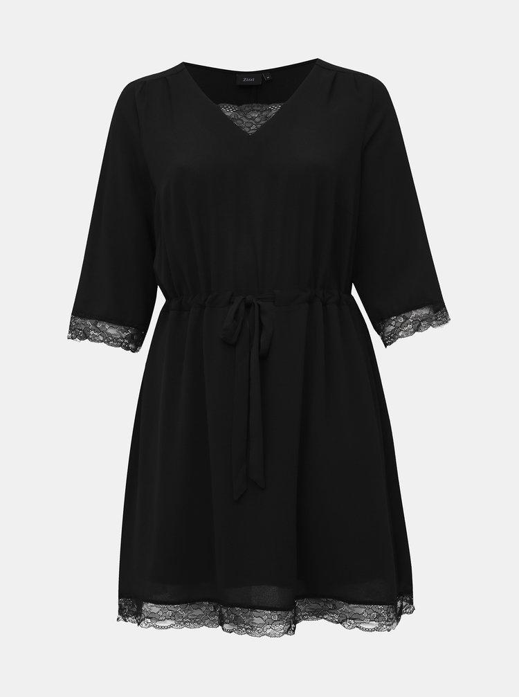 Černé šaty s krajkou Zizzi Philia