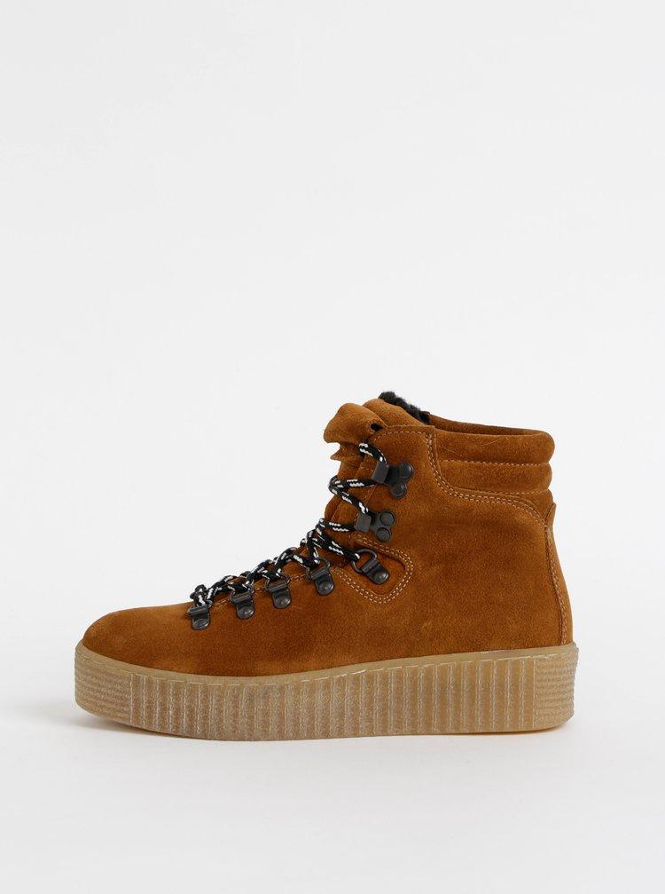 Hnedé semišové zimné členkové topánky na platforme Pieces Halima