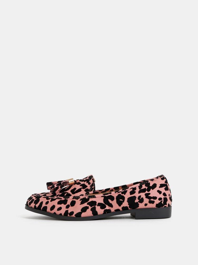 Černo-růžové mokasíny s leopardím vzorem v semišové úpravě Dorothy Perkins