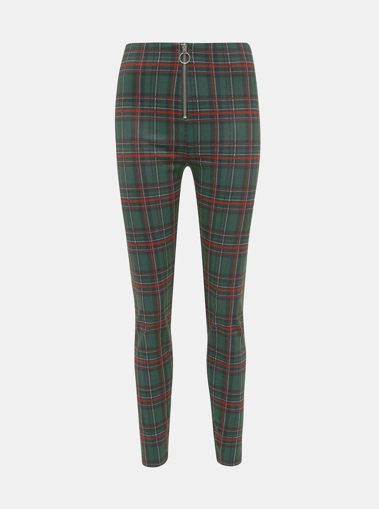 Tmavě zelené dámské kostkované kalhoty Haily´s Felina